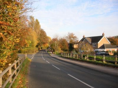 Quiet country road on edge of village